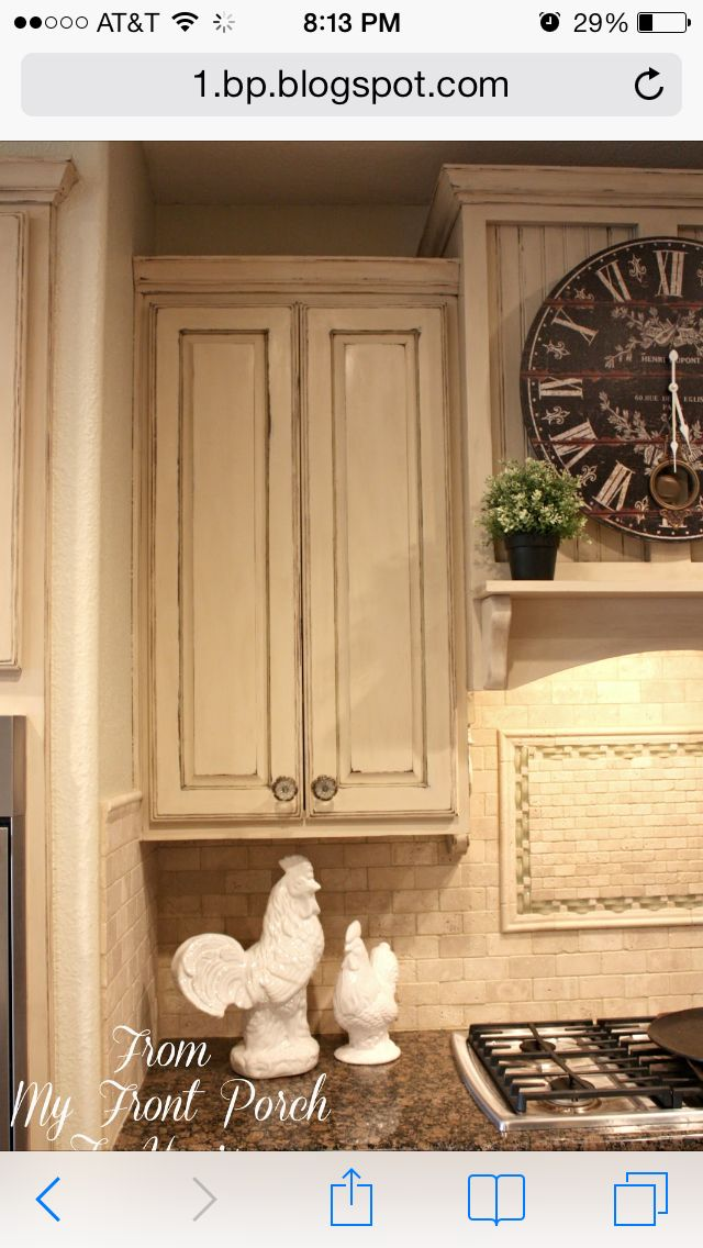 Painted kitchen cabinets. Old ocher