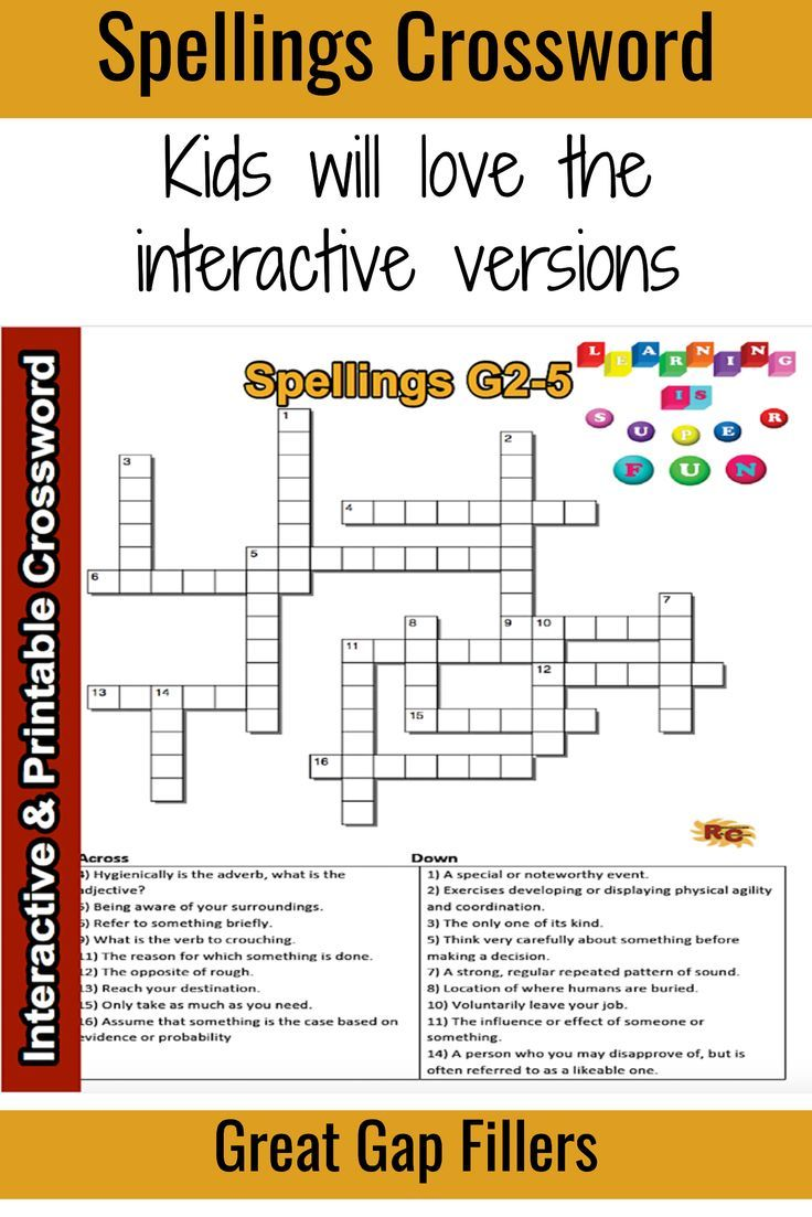 small resolution of ELA Spelling Interactive \u0026 Printable Crossword Puzzle 2nd - 3rd   Teaching  spelling