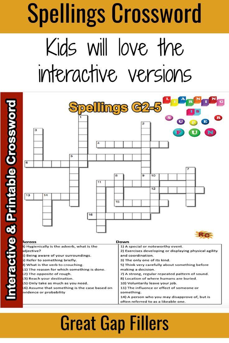 ELA Spelling Interactive \u0026 Printable Crossword Puzzle 2nd - 3rd   Teaching  spelling [ 1103 x 736 Pixel ]