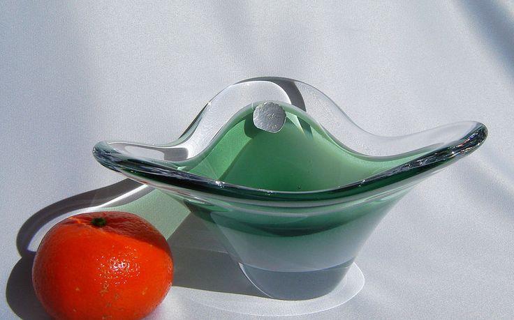 Flygsfors Vintage Art Glass Designed by Paul Kedelv Green