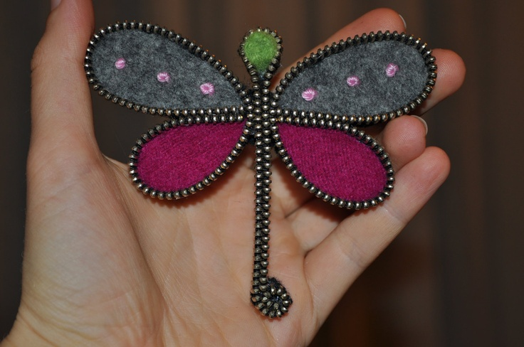 Felt and zipper dragonfly brooch by GalleeValley on Etsy
