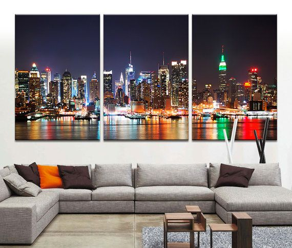 art canvas print new york skyline night cityscape new york large canvas print