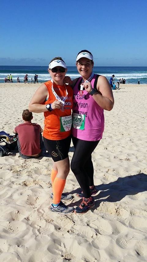 Huge 14min PB in City2Surf.. Fellow #SKINSRecruit Bec and I after finishing the course.. So #inlove with my shorties
