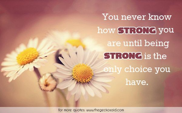 You never know how strong you are until being strong is the only choice you have.  #choice #know #never #only #quotes #strong #until  ©2016 The Gecko Said – Beautiful Quotes