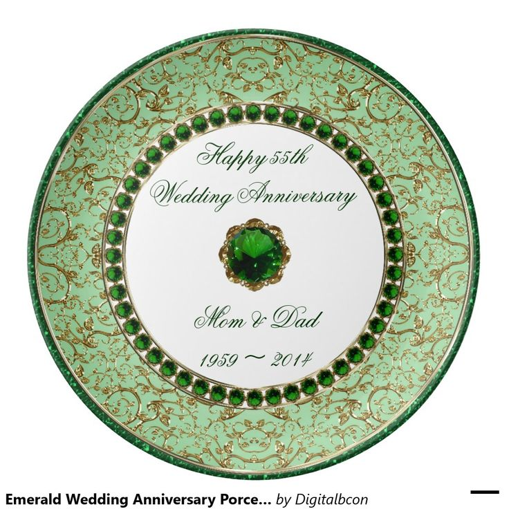 Emerald Wedding Anniversary Porcelain Plate