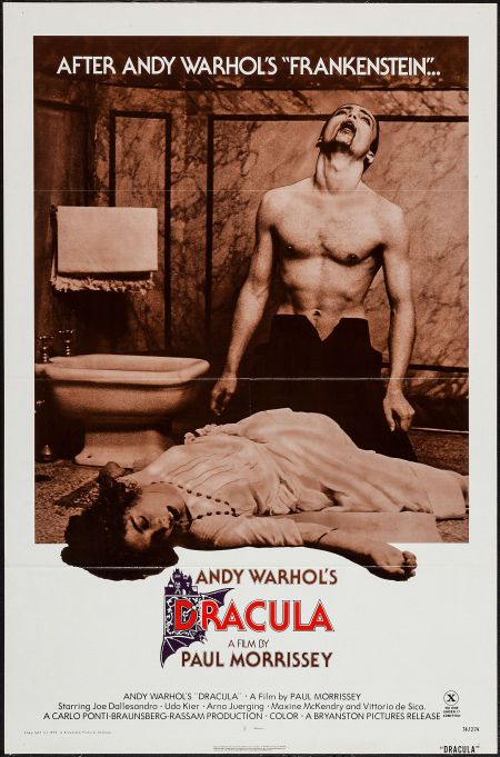 "Andy Warhol's Dracula (Bryanston, 1974). One Sheet (27"" X 41"") Flat Folded. Horror. Starring Joe Dallesandro, Udo Kier, Arno Juerging, Maxime McKendry, Milena Vukotic, Dominique Darel, Stefania Casini, Silvia Dionisio, Vittorio De Sica, and Roman Polanski. Directed by Paul Morrissey."