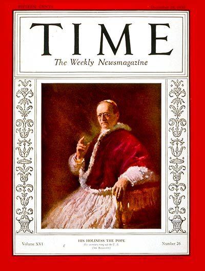 TIME Cover: Pope Pius XI   Dec. 29, 1930