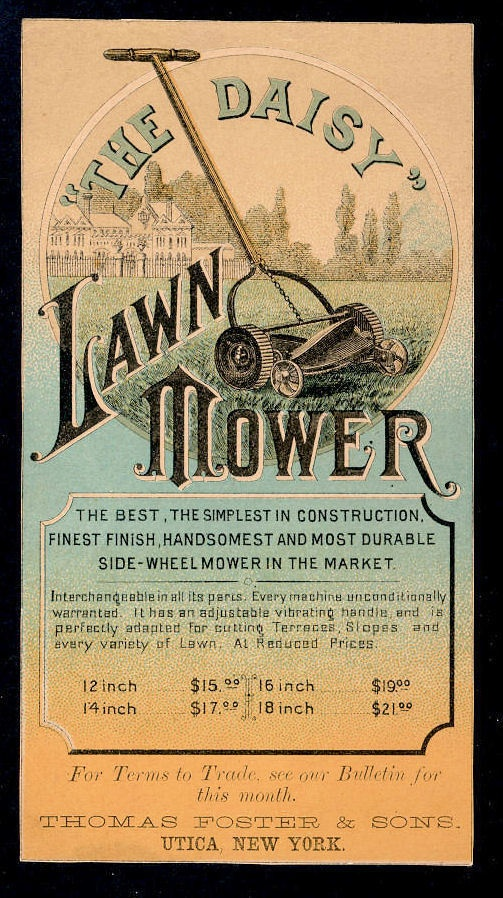 The Daisy Lawn Mower trade card.
