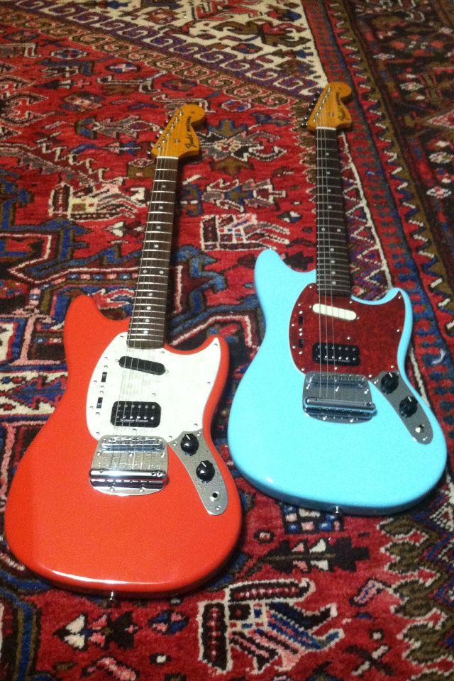 Red - Blue Kurt Cobain Fender Mustang Guitars. Nirvana.