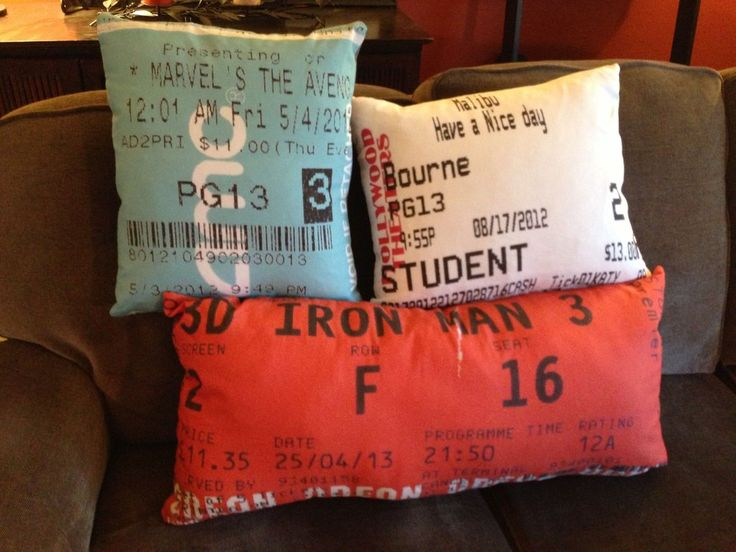I'm moving into a new apartment and love going to the movies, and my craft-y mom saw an idea on Pinterest and thought it would be cool. So we took some of my ticket stubs (I've saved them from every movie I've seen in theaters since Zoolander in 2001) and used SpoonFlower.com to turn them into fabric. Then my mom turned them into pillows.
