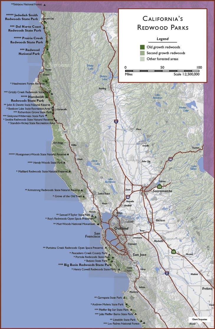 California | Click on grey boxes to view regional maps; click on park names to view ...