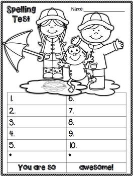 April activities: Spelling test FREEBIES. April edition. Students can color the picture while they are waiting for the next word, or waiting for everyone to complete their quiz. Add a little fun to test taking. My kiddos LOVE these.