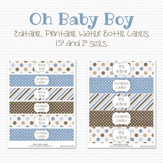 water bottle labels blue and brown boy baby shower decor birthday