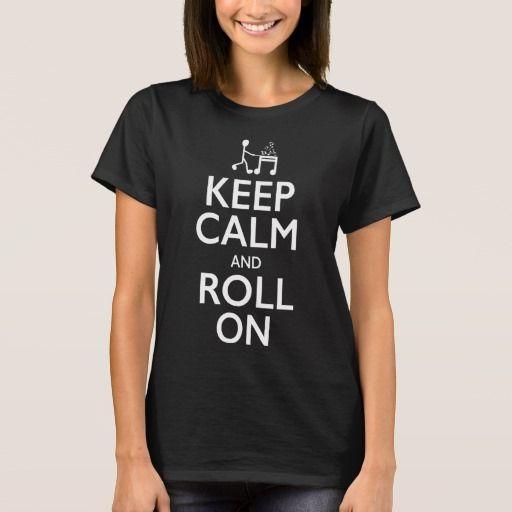 Fun music shirt for traveling music teachers and music teachers on a cart! - Keep Calm and Roll On - Dark Shirt (White Print)