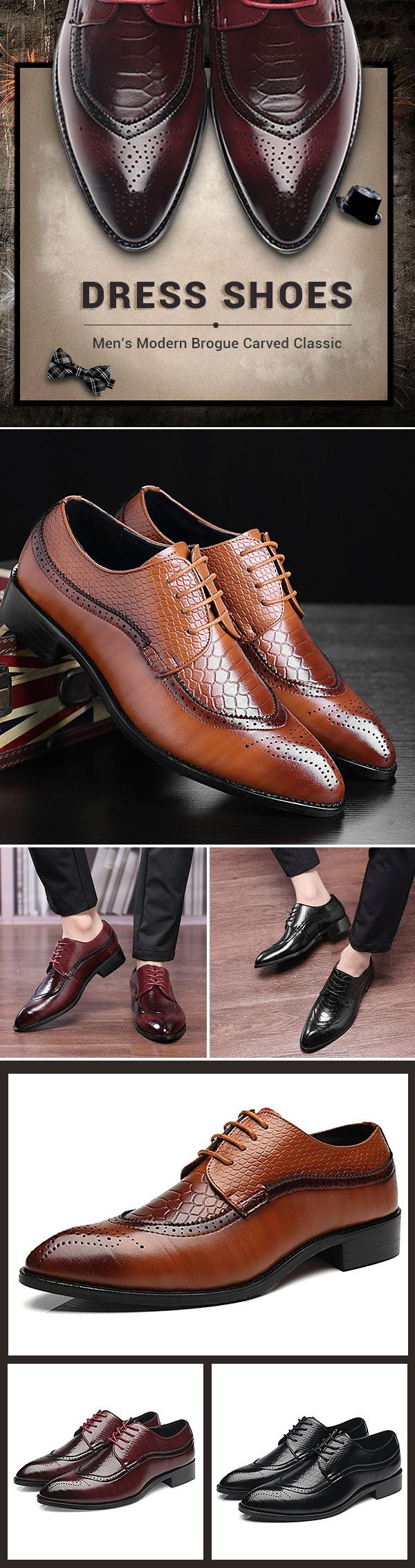 US$37.54 Large Size Men's Modern Brogue Carved Classic Pointed Toe Dress Shoes