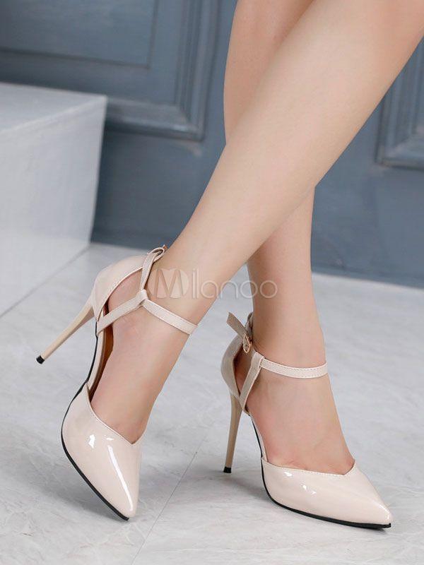 5433def20c61 Sapatos 2019 Saltos altos para mulheres Decote com tira no tornozelo com  ponta de dedo Ecru
