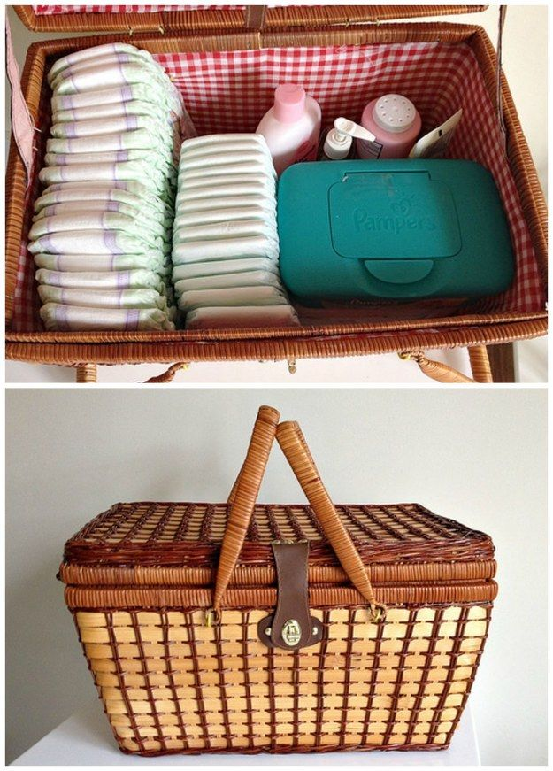 Make a portable diaper basket so you don't have to go to baby room every single time you need to change a diaper.
