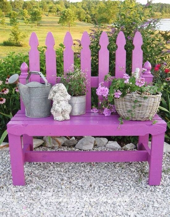 Cute Spring idea for a Bench... but not a purple bench...