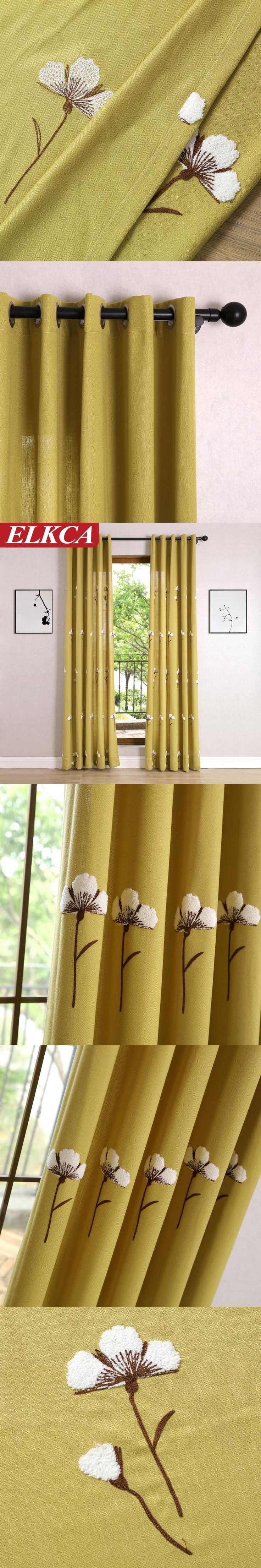 Semi-shading Countryside Villa Embroidered Curtains for Living Room Divider Chinese Curtains for Sweet Bedroom Window Decor