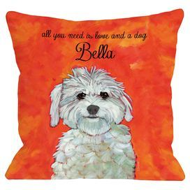 "Showcasing a Maltese portrait and personalized typographic detail, this charming pillow pays homage to your favorite four-legged friend. Made in the USA.  Product: PillowConstruction Material: Polyester cover and fiber fillColor: OrangeFeatures:  Insert includedPersonalized with your pet's nameMade in the USA Dimensions: 18"" x 18""Note: When personalizing, please enter up to 12 characters for pet's name"