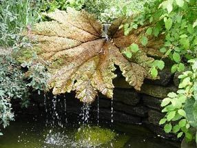 Wonderful water feature.  I think the water falling off that leaf would sound so soothing.  Anyone know where to find a bit old metal leaf?