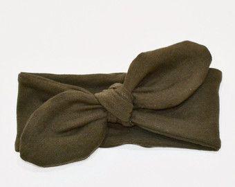Scuro verde oliva nodo fascia, fascia del bambino, fascia del bambino, ragazza, adulto archetto, cotone/Spandex maglia Baby Gift