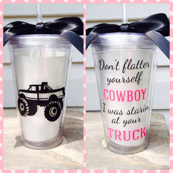 Country Girl Truck Cowboy Lifted Tumbler Cup by TheGirlsinPink