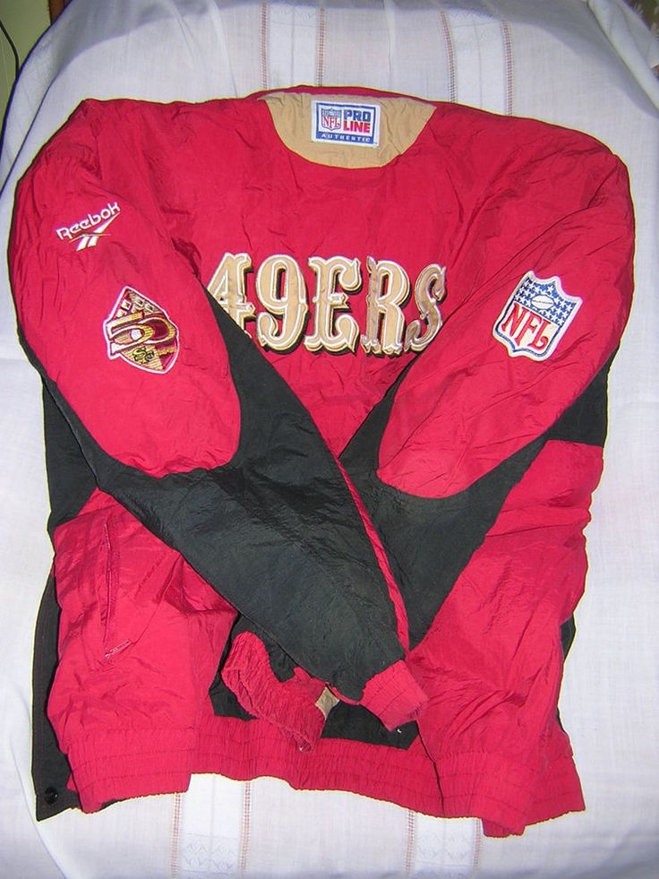 49er Jacket with Hood 50 Year Patch NFL Pro Line Reebok Hard To Find XXL Size  #Reebok #SanFrancisco49ers