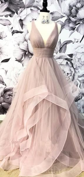V-Neck Gray Tulle A-line Long Evening Prom Dresses, Cheap Party Custom Prom Dresses, 18628