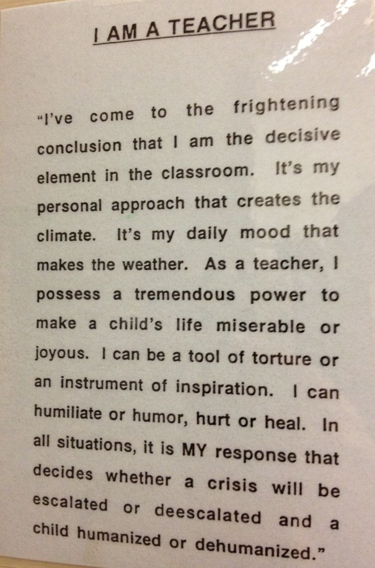 "This quote from the esteemed Haim Ginott is one that we must keep in our minds and hearts as we work with young children, especially when considering the ""classroom/ behavior management"" policies and practices that we use. Please read and consider:)"