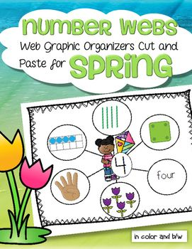 Number webs 1-10 cut and paste for a Spring theme. Children create numbers 1-10 web graphic organizers by cutting and pasting 6 ways that numbers can be represented onto a number mat background. The 6 ways that numbers can be resented used here are: 10-frames, tally marks, dice, finger counting, objects in a set, and the number word. In both color and b/w.