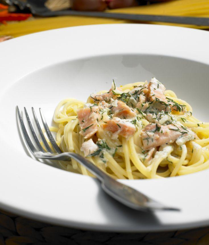 Špagety s lososom a citrónovou omáčkou