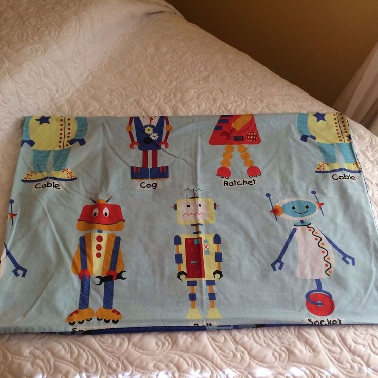 Kids Club Pillowcases Shams Robots Blue Cartoon Characters