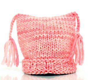 Sweet Peach Tasseled Hat | AllFreeKnitting.com