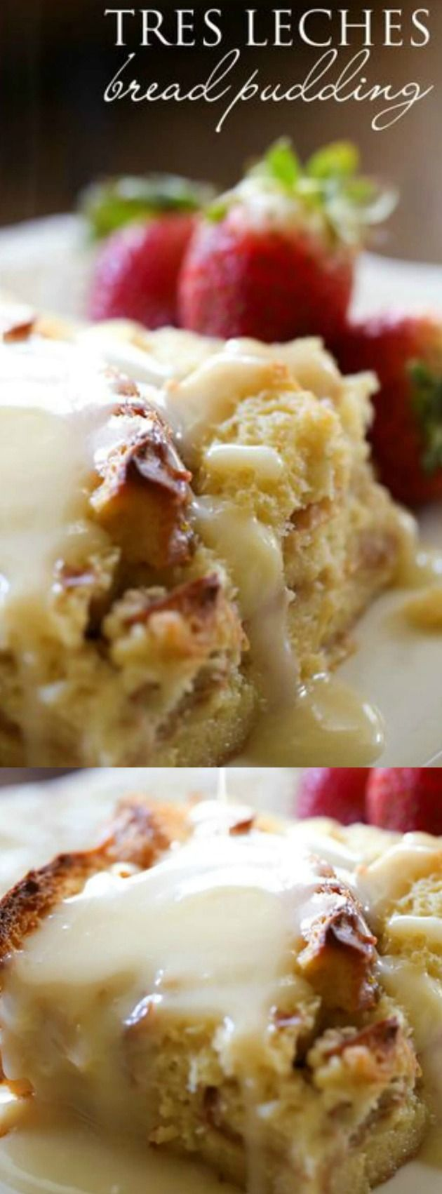 This Tres Leches Bread Pudding with Vanilla Cream Sauce from Chef in Training makes the perfect holiday breakfast that will WOW your family! It is an easy and simple recipe but tastes so fancy and special.  The flavor of this Tres Leches Bread Pudding is seriously so amazing!