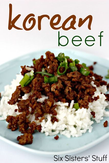 Korean Beef and Rice- such an easy recipe for ground beef! SixSistersStuff.com #groundbeef    (main dish, entree, meat)    1 lb lean ground beef  1/2 cup brown sugar  1/4 cup soy sauce  1 Tablespoon sesame oil  3 cloves garlic, minced  1/4 teaspoon ground ginger  1/2 - 1 teaspoon crushed red peppers (depending on how spicy you like it)  salt and pepper  1 bunch green onions, diced  Rice, cooked