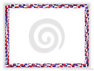 Frame and border of ribbon with the France flag. 3d illustration.