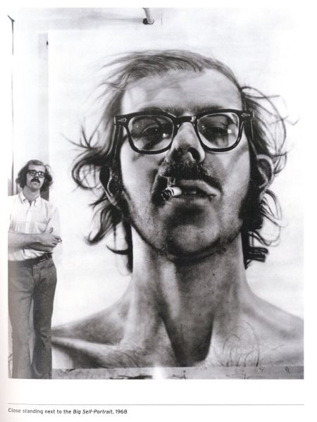 Chuck Close large scale photo realistic self portrait