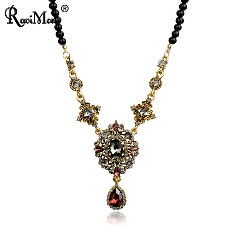 Crystal Long Necklace for Women Fashion Vintage Black Beads Maxi Necklaces & Pendants Baroque Statement Collar Jewelry 2017-in Pendant Necklaces from Jewelry & Accessories on Aliexpress.com | Alibaba Group