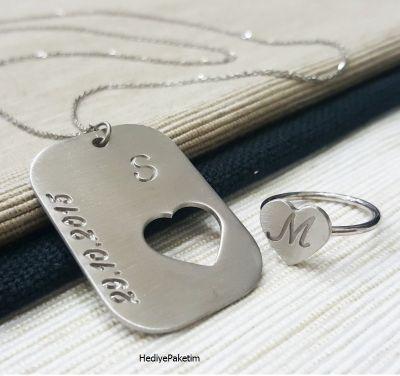 İsme Özel Gümüş Yüzük ve Kolye