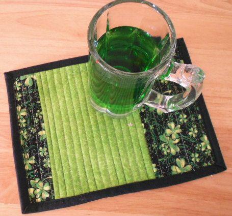 St Patricks Day Irish Mug Rugs   Green Fabric by SEWFUNQUILTS, $18.00