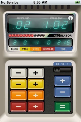 Alculator - Talking BAC Calculator The future is now! Introducing the world's first BAC calculator that talks! Alculator is by far the easiest blood alcohol content calculator to use for the Apple iPhone or iPod touch. - See more at: http://www.loungelizard.com/mobile-app-development/#sthash.braxvVuF.dpuf