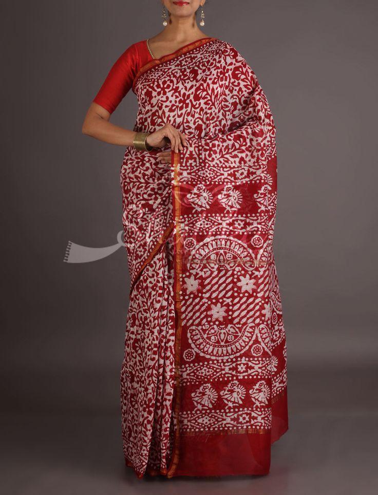 Nidhi Ravishing Red With White Imprints Bagh Print Saree