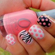 Polka dot and zebra nails