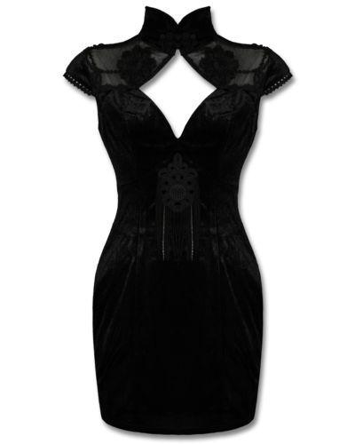 Punk Rave Black Velvet Lace Gothic Steampunk Victorian Geisha Corset Mini Dress