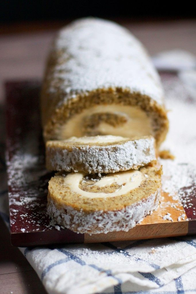 Banana Cake Roll with Caramel Cream Cheese Filling- The Baker Chick