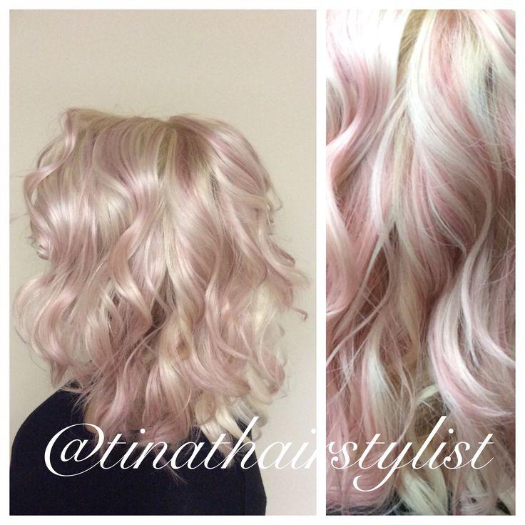 Pastel pink dream highlights, curly hair, beach waves. Platinum blonde.