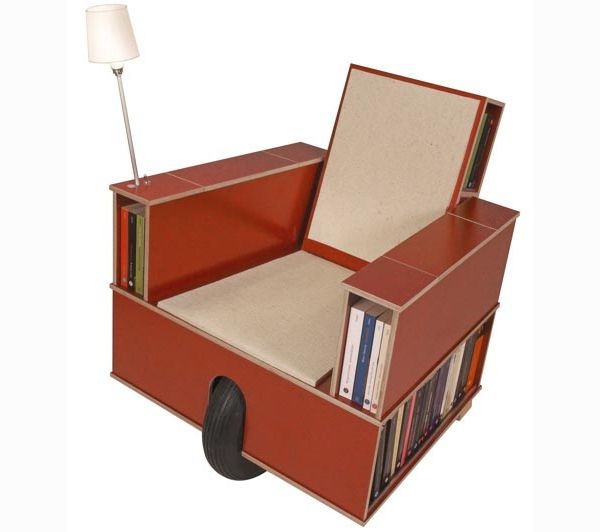 Bookinist, A Combination Chair/bookcase With A Reading Light, Cup Holder,  And A More Few Surprises That Combine To Give New Meaning To The Term