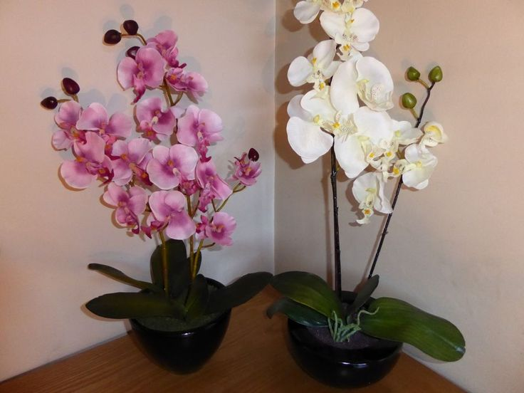 Large Artificial Orchid Plant In A Round Pot Flowers Potted Indoor House Office #UKGardens