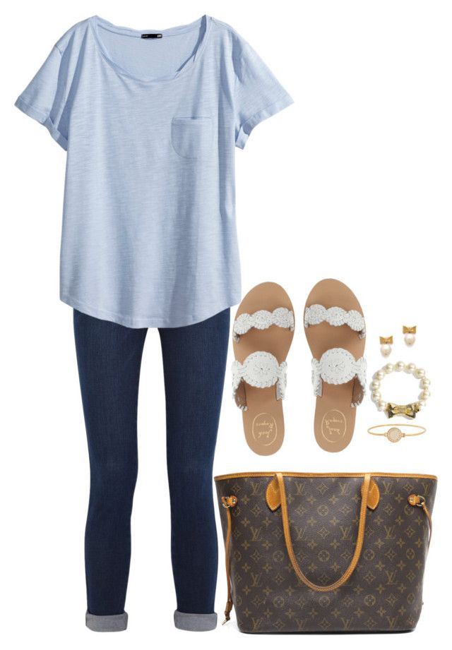 """Untitled #785"" by classycathleen ❤ liked on Polyvore featuring Frame Denim, H&M, Jack Rogers, Louis Vuitton, Marc by Marc Jacobs and Kate Spade"